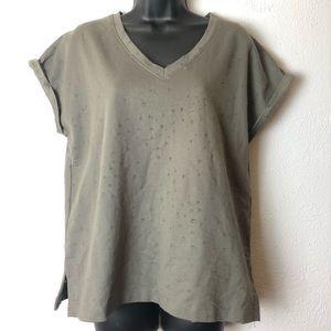 WISHLIST distressed cap sleeve shirt blouse Sz Sm
